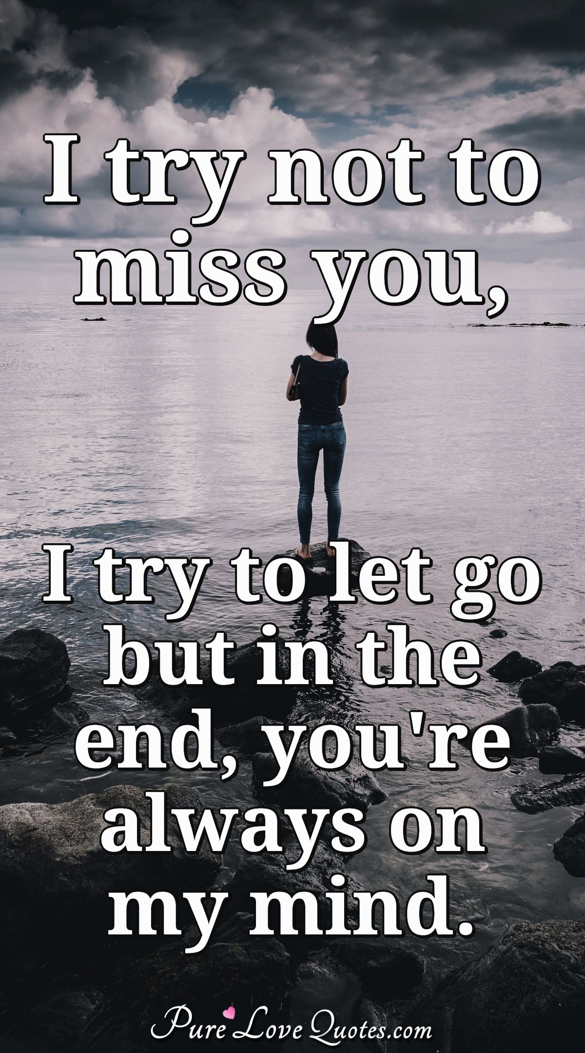 I try to not to miss you , I try to let go but in the end you