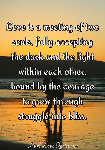 Love is a meeting of two souls, fully accepting the dark and the light within each other, bound by the courage to grow through struggle into bliss.