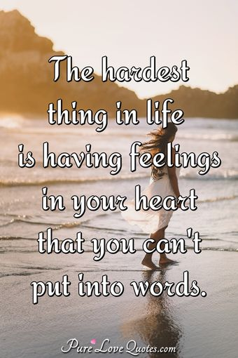 The hardest thing in life is having feelings in your heart that you can't put into words.