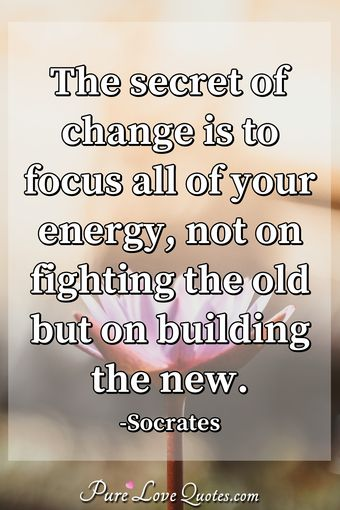 The secret of change is to focus all of your energy, not on fighting the old but on building the new.