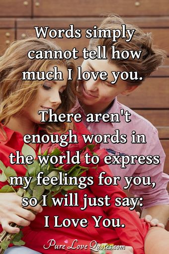 Words simply cannot tell how much I love you. There aren't enough words in the world to express my feelings for you, so I will just say: I Love You.