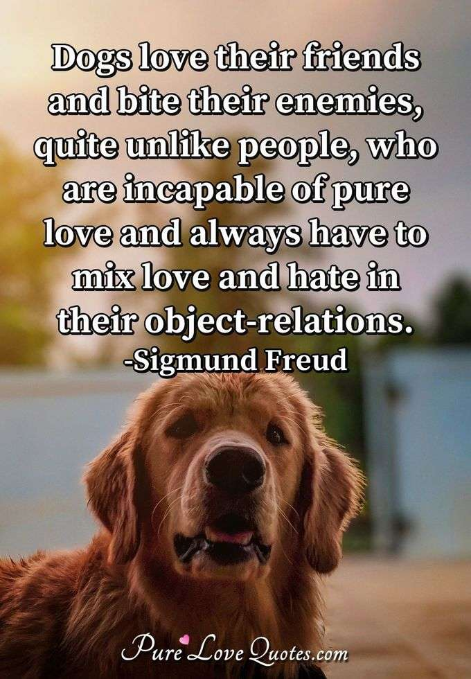 Dogs love their friends and bite their enemies, quite unlike people, who are incapable of pure love and always have to mix love and hate in their object-relations.