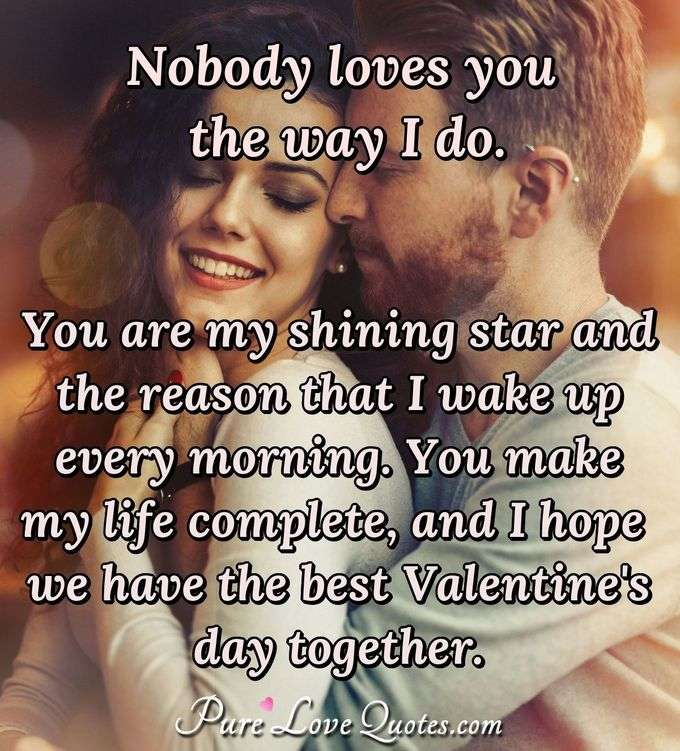 Nobody loves you the way I do. You are my shining star and the reason that I wake up every morning. You make my life complete, and I hope we have the best Valentine's day together. - Anonymous