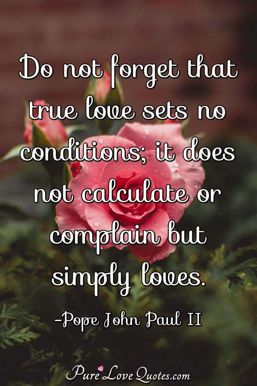 Do Not Forget That True Love Sets No Conditions It Does Not
