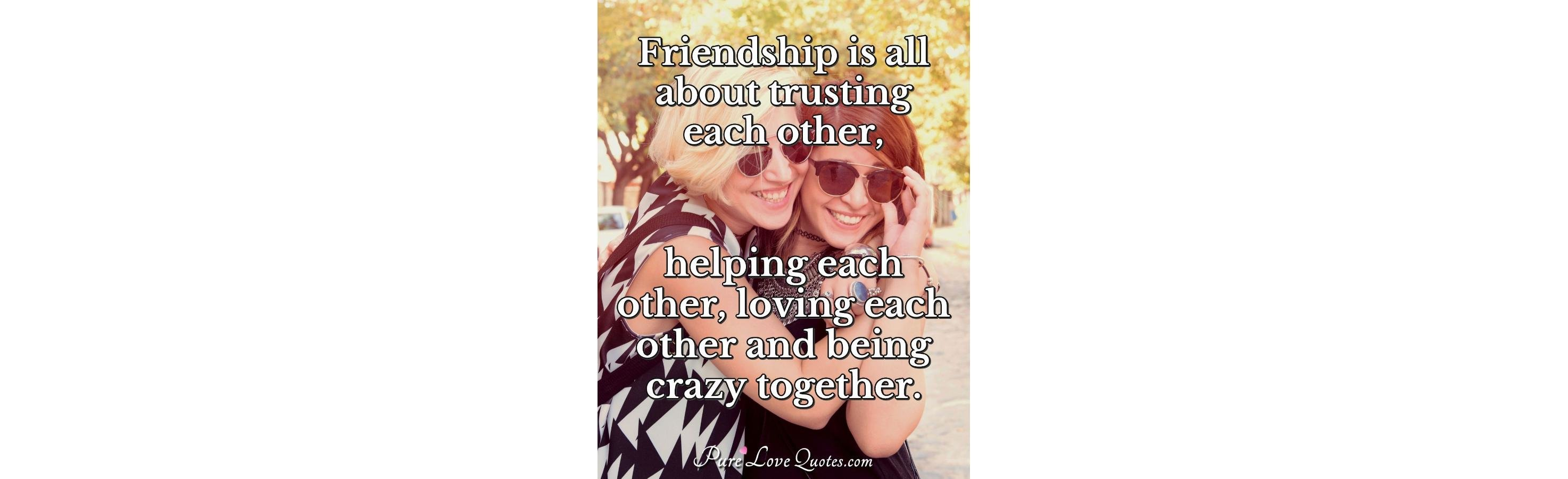 Friendship Is All About Trusting Each Other Helping Each Other