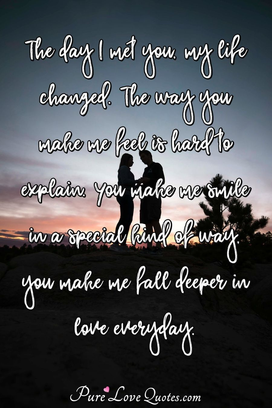 The Day I Met You My Life Changed The Way You Make Me Feel Is Hard Fascinating Life Quotes Com