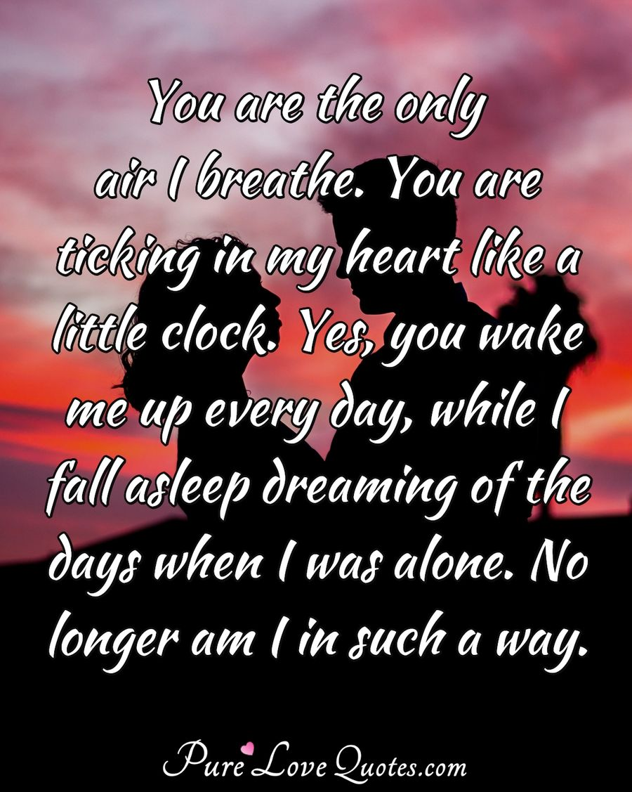 You are the only air I breathe. You are ticking in my heart like a little clock. Yes, you wake me up every day, while I fall asleep dreaming of the days when I was alone. No longer am I in such a way. - Anonymous