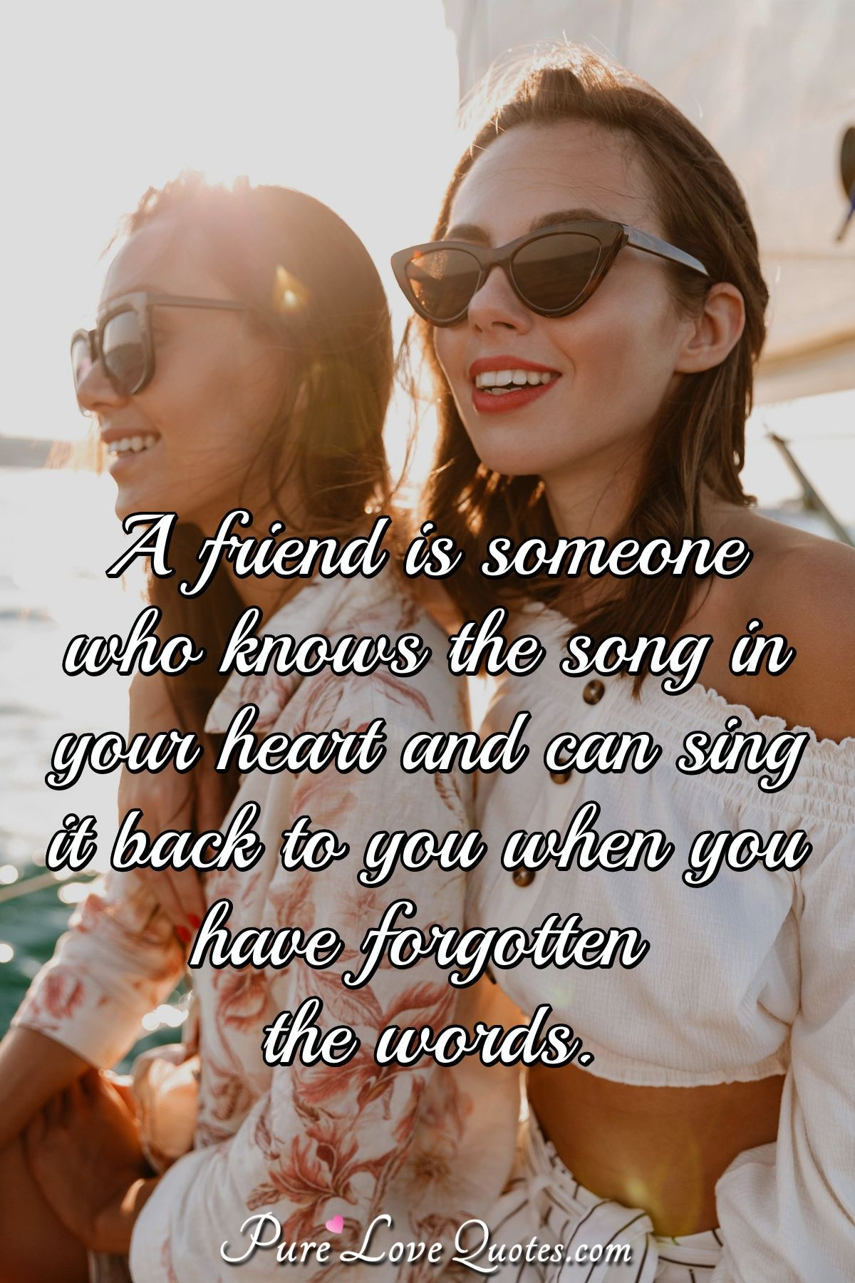 A friend is someone who knows the song in your heart and can sing it back to you when you have forgotten the words. - Anonymous