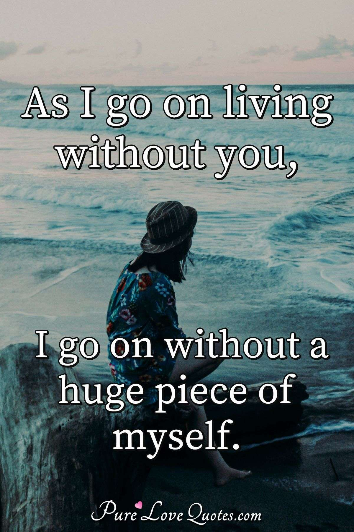 As I go on living without you, I go on without a huge piece of myself. - Anonymous