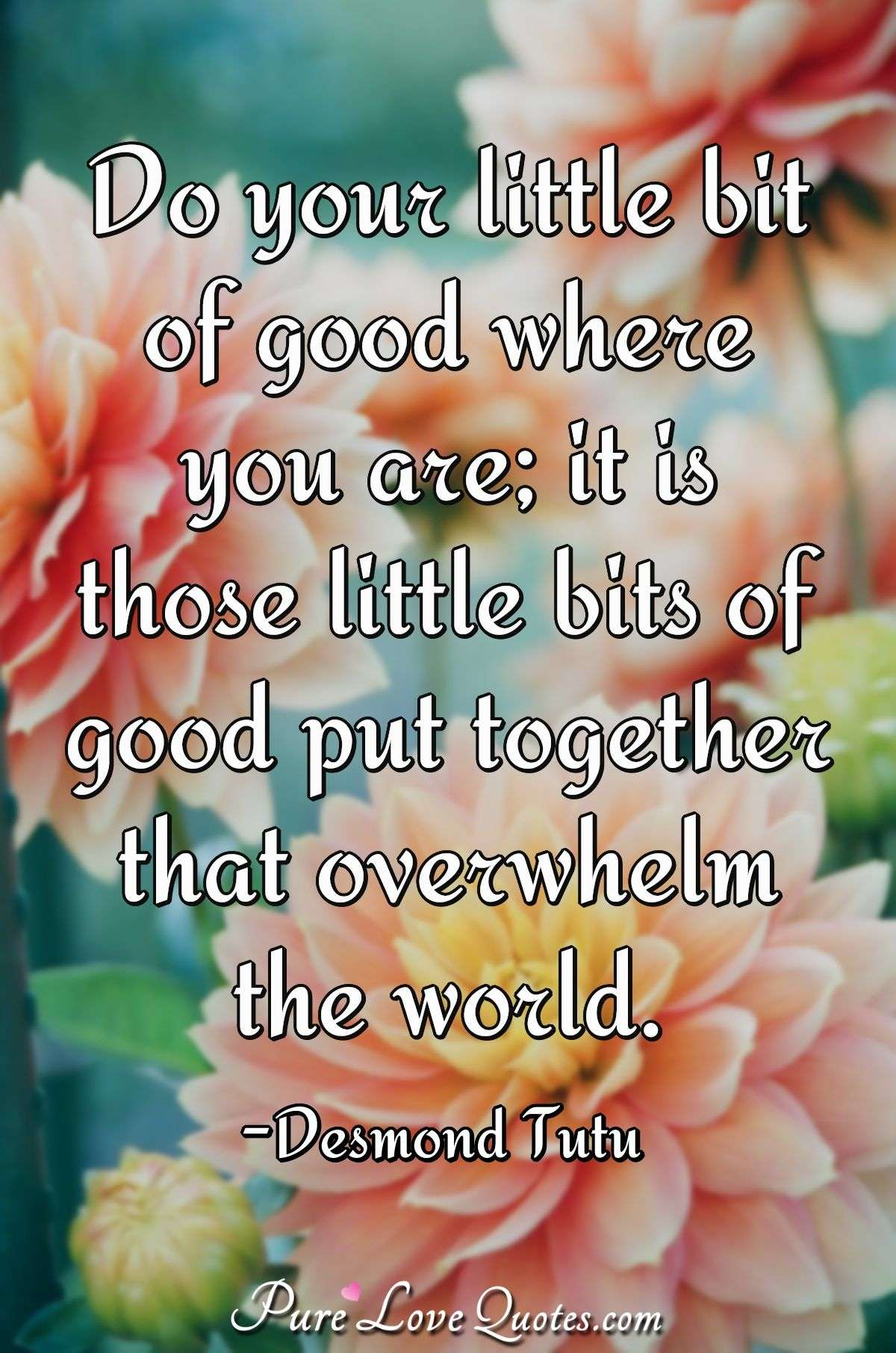 Do your little bit of good where you are; it is those little bits of good put together that overwhelm the world. - Desmond Tutu