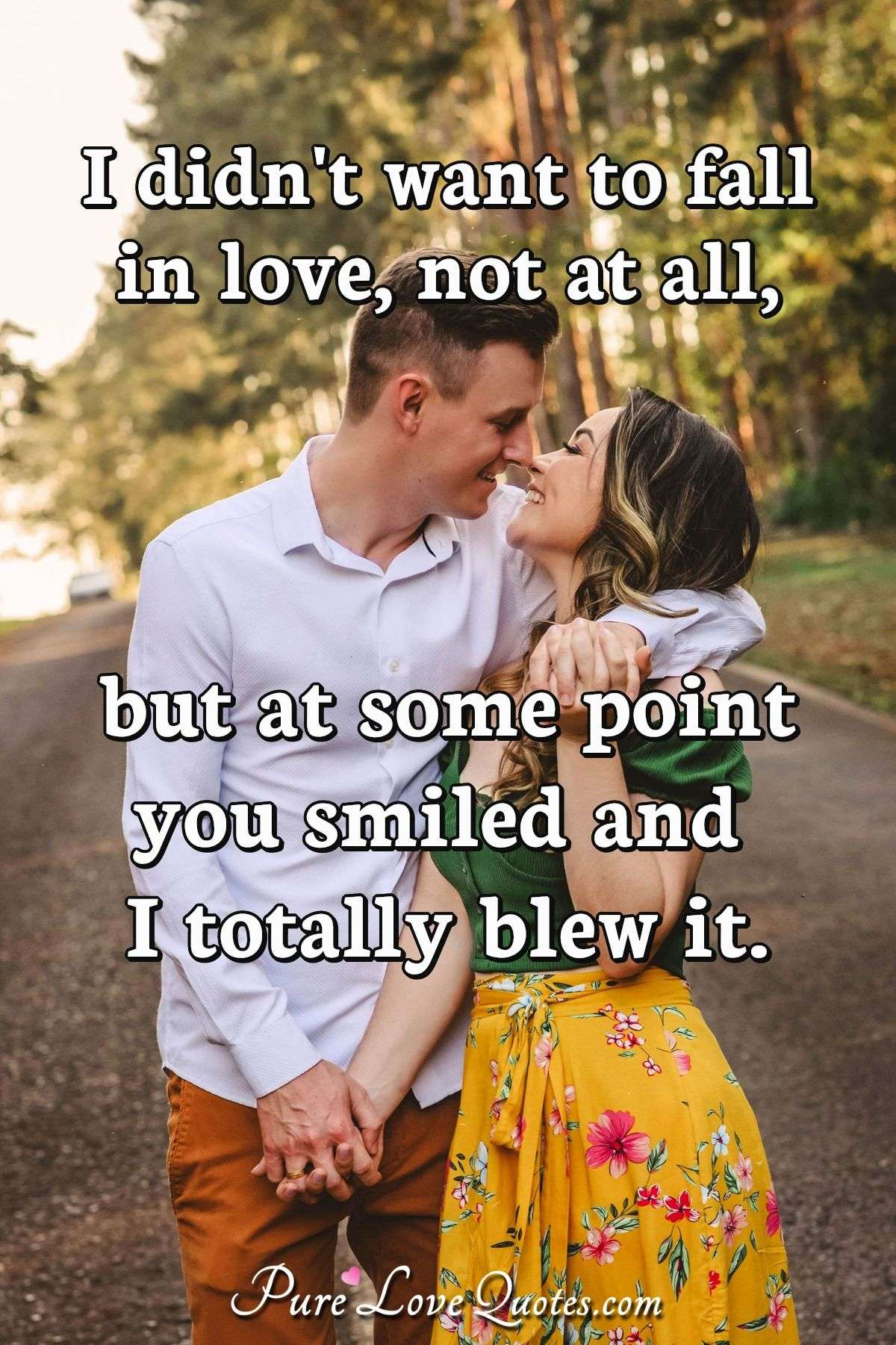 I didn't want to fall in love, not at all, but at some point you smiled and I totally blew it. - Anonymous
