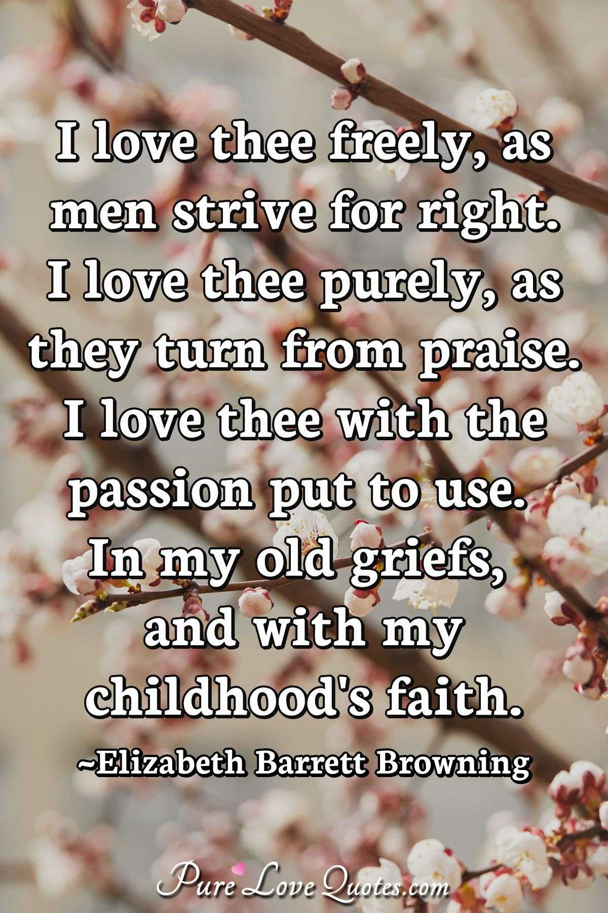 I love thee freely, as men strive for right.