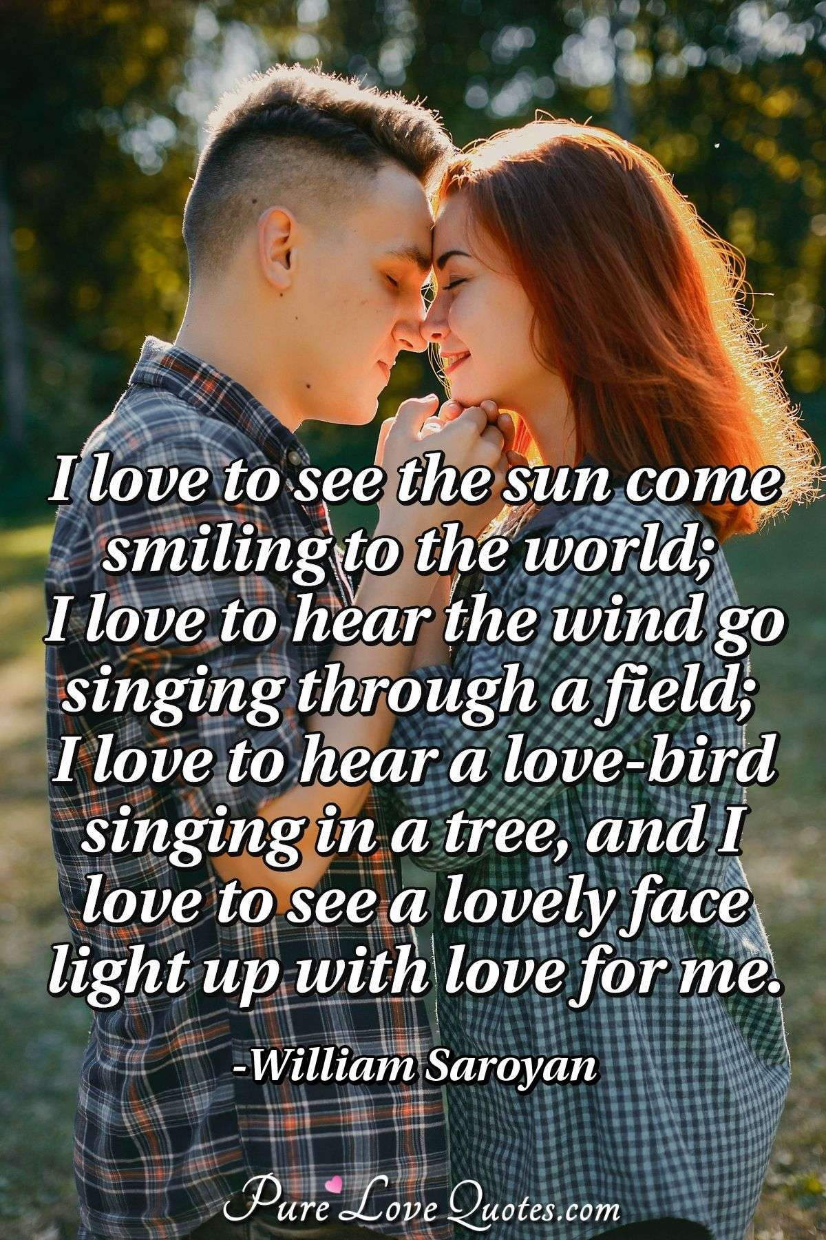 I love to see the sun come smiling to the world; I love to hear the wind go singing through a field; I love to hear a love-bird singing in a tree, and I love to see a lovely face light up with love for me. - William Saroyan
