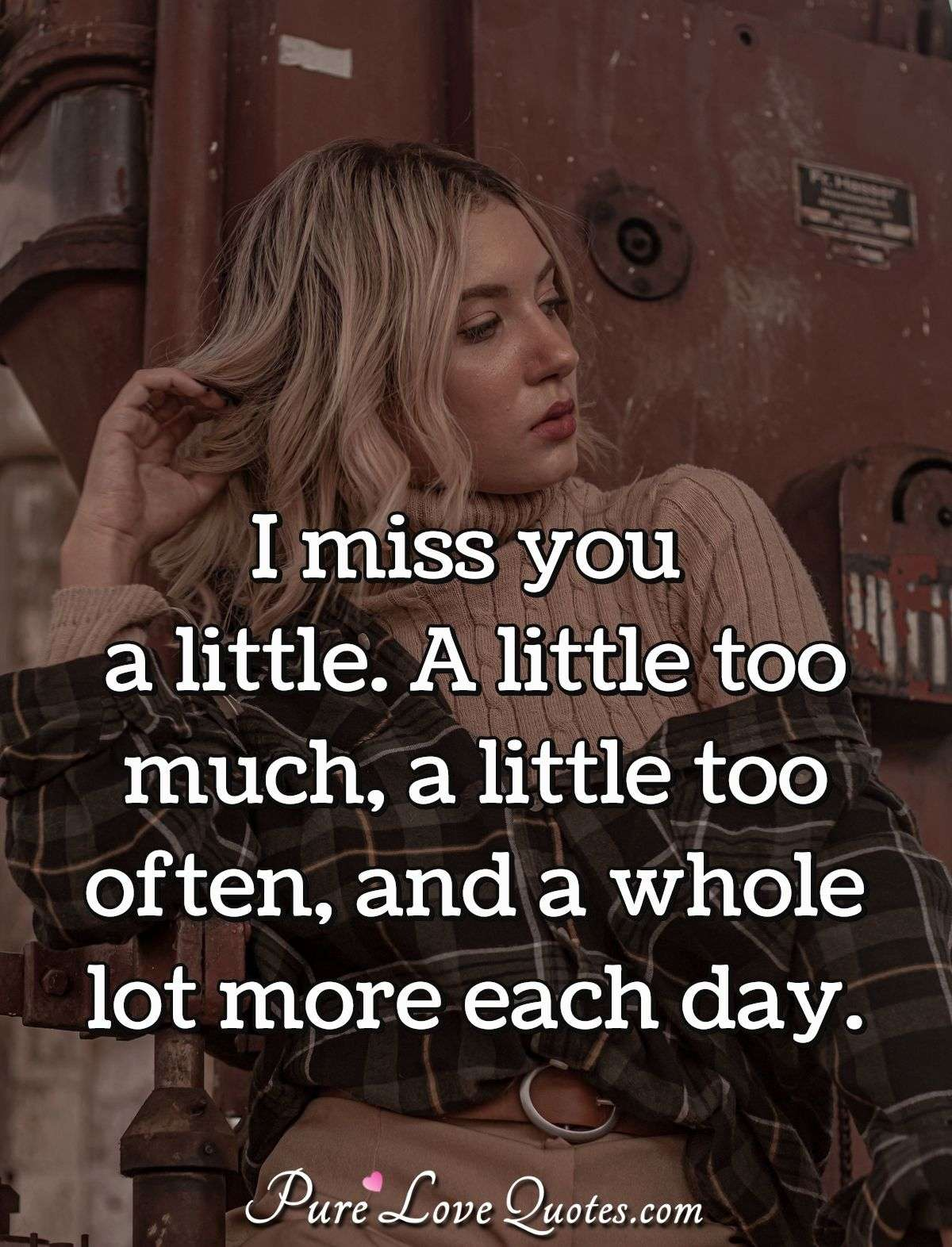 I miss you a little. A little too much, a little too often, and a whole lot more each day. - Anonymous