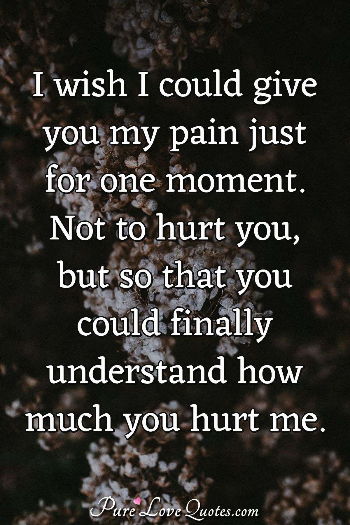 I wish I could give you my pain just for one moment. Not to hurt