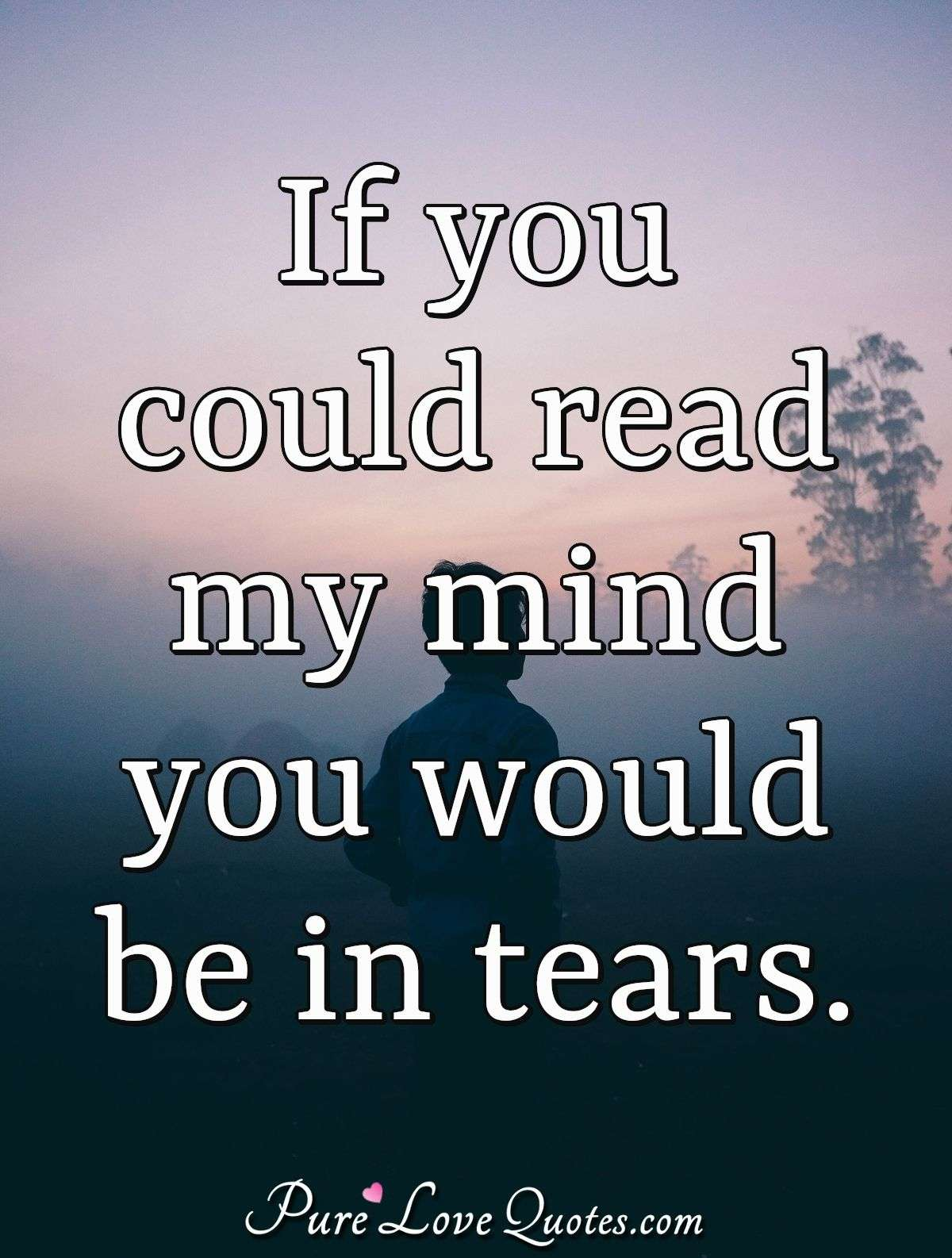 If you could read my mind you would be in tears. - Anonymous
