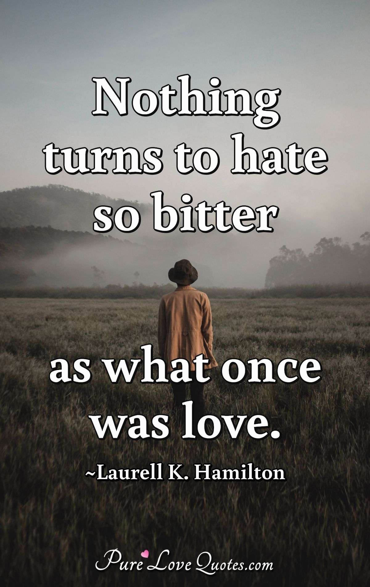Nothing turns to hate so bitter as what once was love. - Laurell K. Hamilton