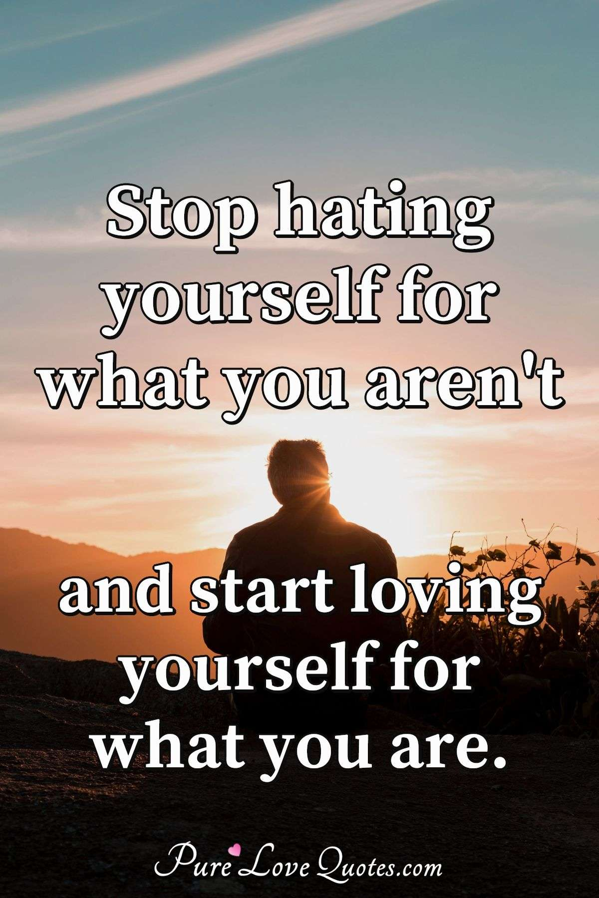 Stop hating yourself for what you aren't and start loving yourself for what you are. - Anonymous