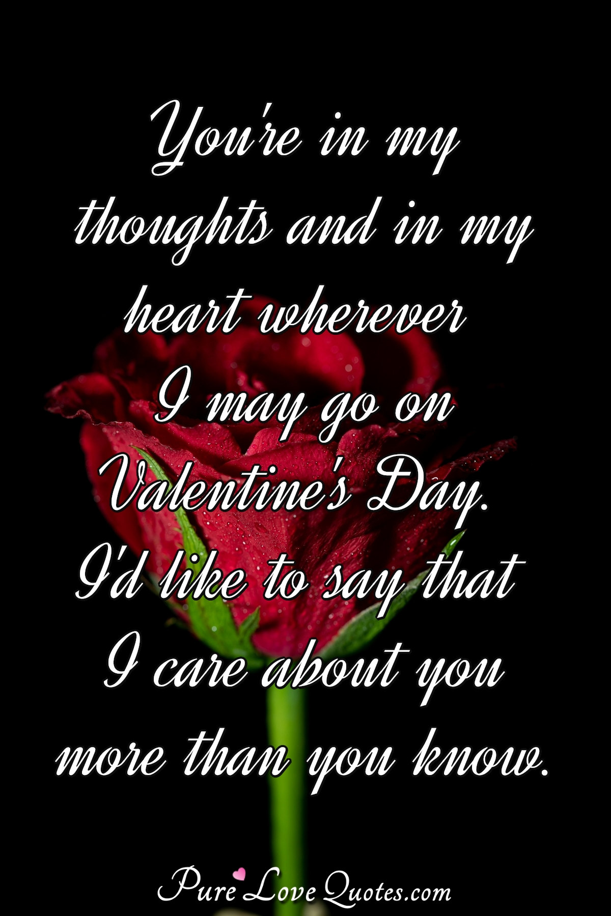 You're in my thoughts and in my heart wherever I may go on Valentine's Day. I'd like to say that I care about you more than you know. - Anonymous