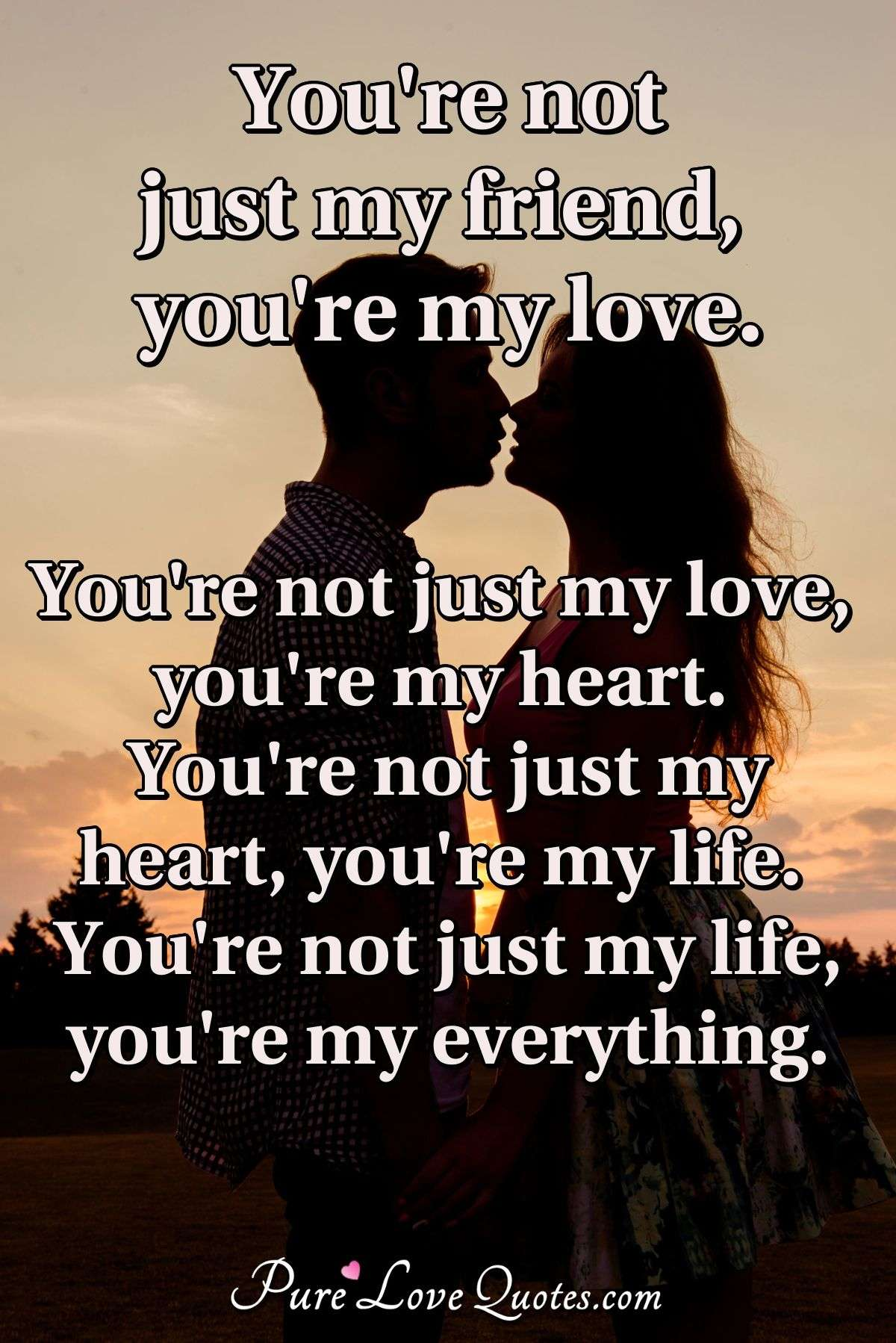 You're not just my friend, you're my love. You're not just my love, you're my heart. You're not just my heart, you're my life. You're not just my life, you're my everything. - Anonymous