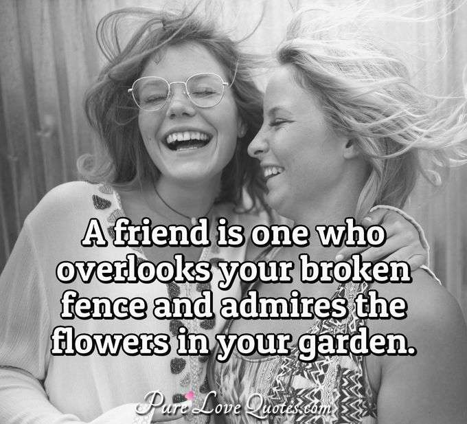 A friend is one who overlooks your broken fence and admires the flowers in your garden. - Anonymous