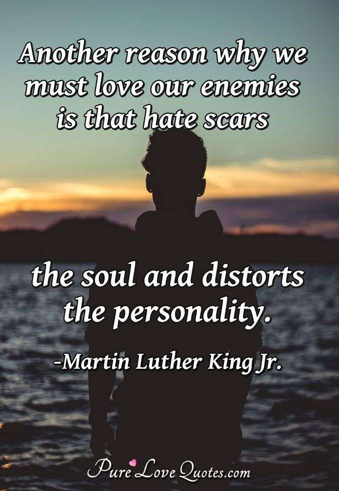 Another reason why we must love our enemies is that hate scars the soul and distorts the personality. - Martin Luther King Jr.