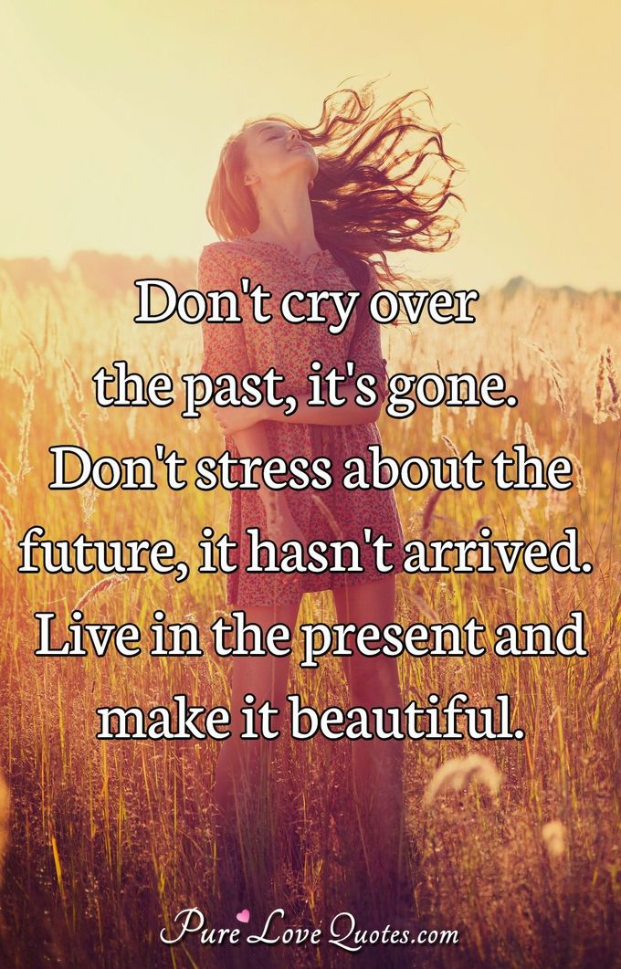 Don't cry over the past, it's gone. Don't stress about the future, it hasn't arrived. Live in the present and make it beautiful. - Anonymous