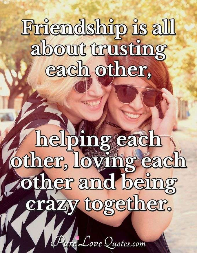 Friendship is all about trusting each other, helping each other, loving each other and being crazy together. - Anonymous