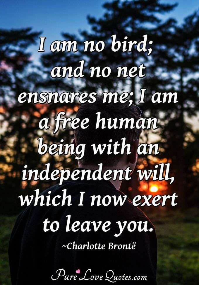 I am no bird; and no net ensnares me; I am a free human being with an independent will, which I now exert to leave you. - Charlotte Brontë