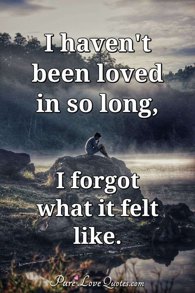 I haven't been loved in so long, I forgot what it felt like. - Anonymous