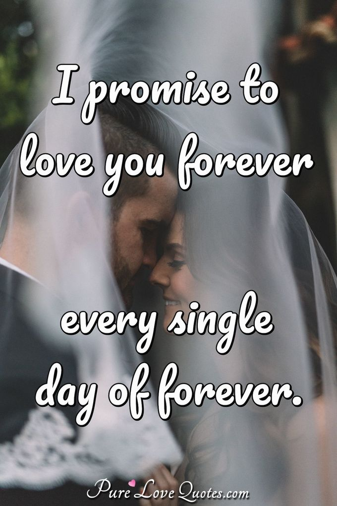 I promise to love you forever every single day of forever. - Anonymous