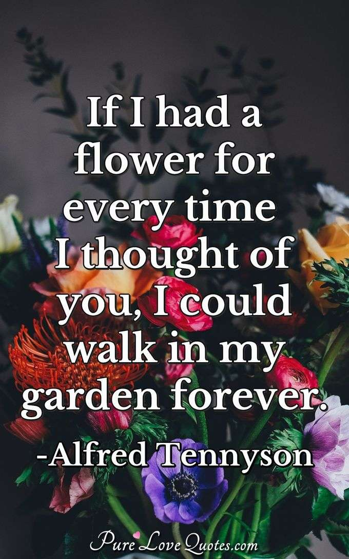 If I had a flower for every time I thought of you, I could walk in my garden forever. - Alfred Tennyson