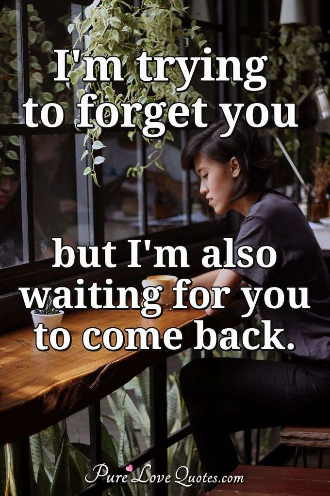I'm trying to forget you but I'm also waiting for you to come back. - Anonymous