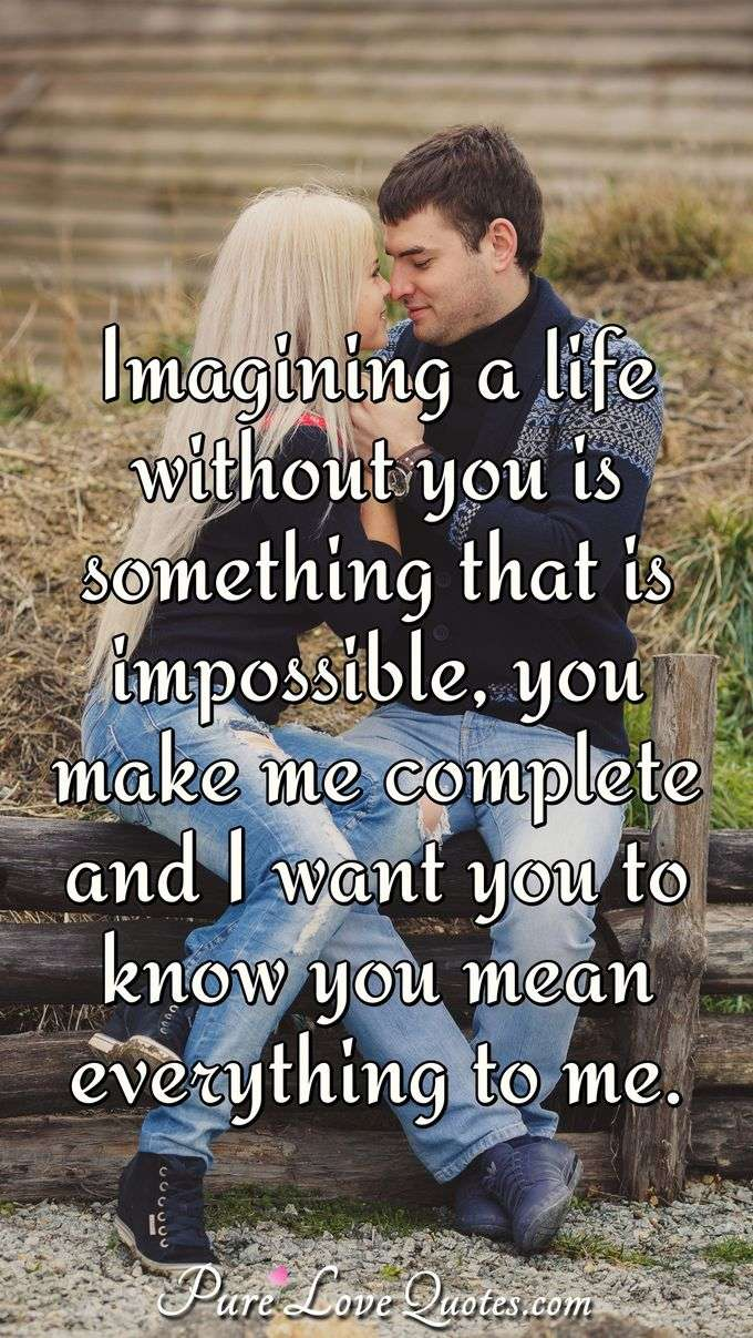 Imagining a life without you is something that is impossible, you make me complete and I want you to know you mean everything to me. - Anonymous