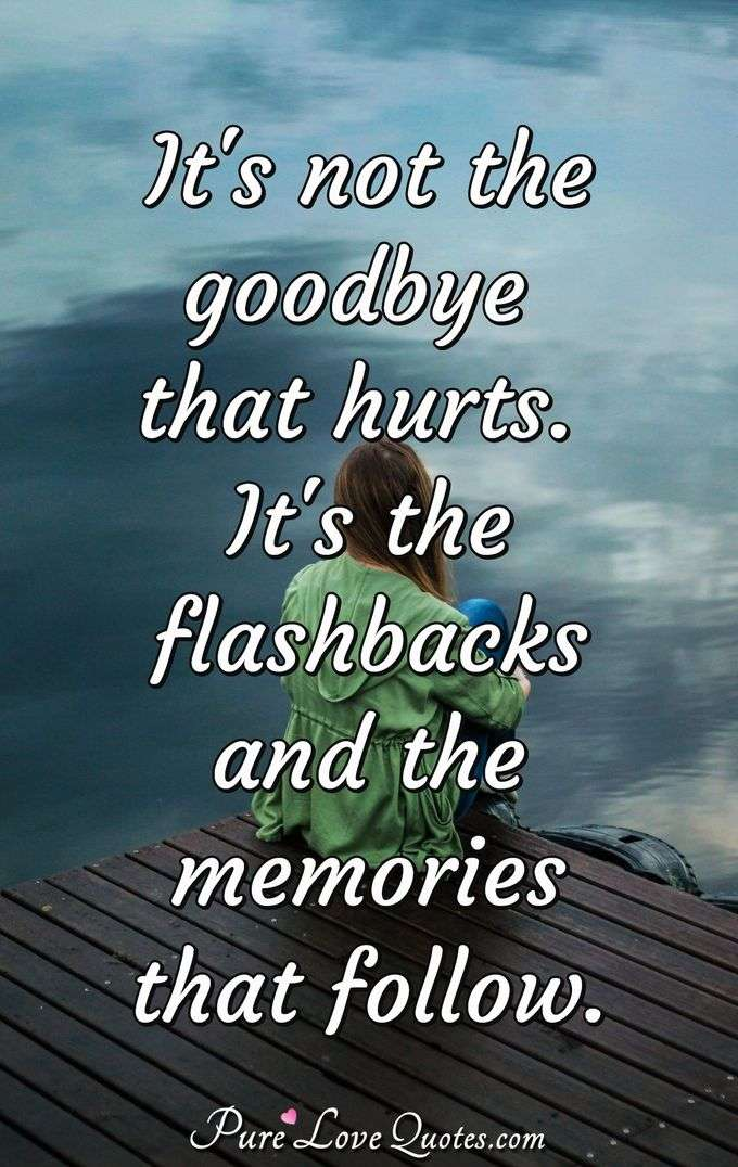 It's not the goodbye that hurts. It's the flashbacks and the memories that follow. - Anonymous