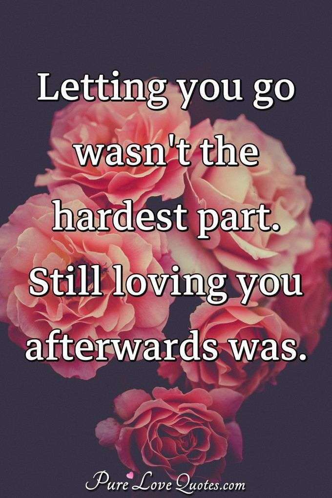 Letting you go wasn't the hardest part. Still loving you afterwards was. - Anonymous