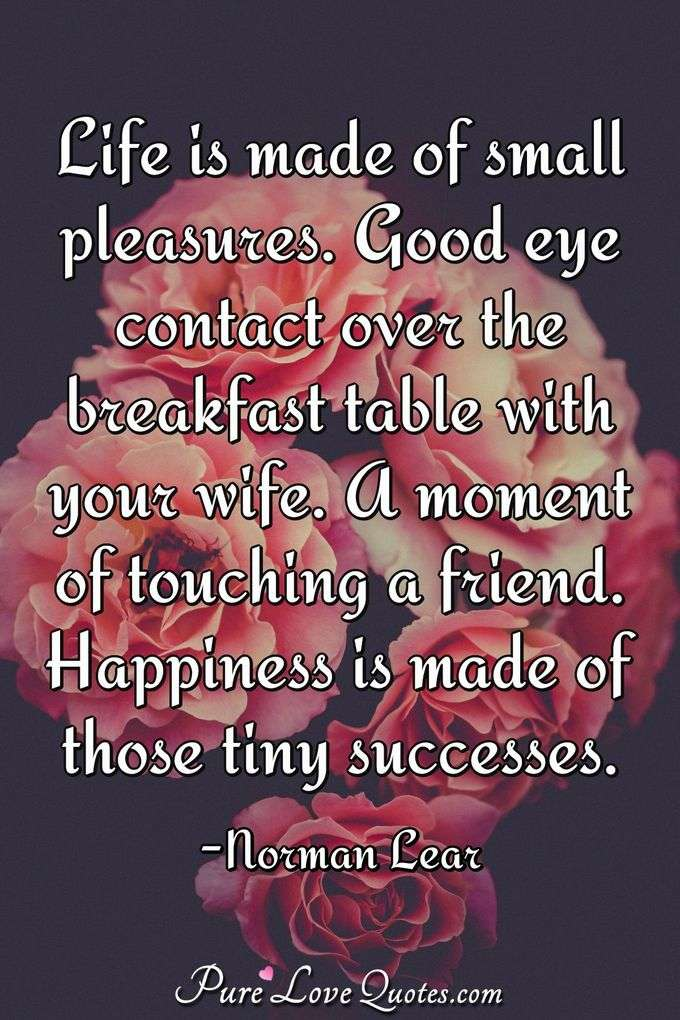 Life is made of small pleasures. Good eye contact over the breakfast table with your wife. A moment of touching a friend. Happiness is made of those tiny successes. - Norman Lear