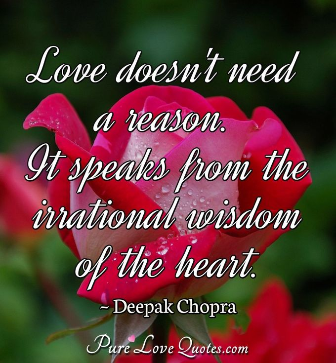 Love doesn't need a reason. It speaks from the irrational wisdom of the heart. - Deepak Chopra