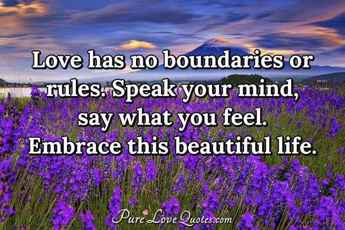 Love has no boundaries or rules. Speak your mind, say what you feel. Embrace this beautiful life. - Anonymous