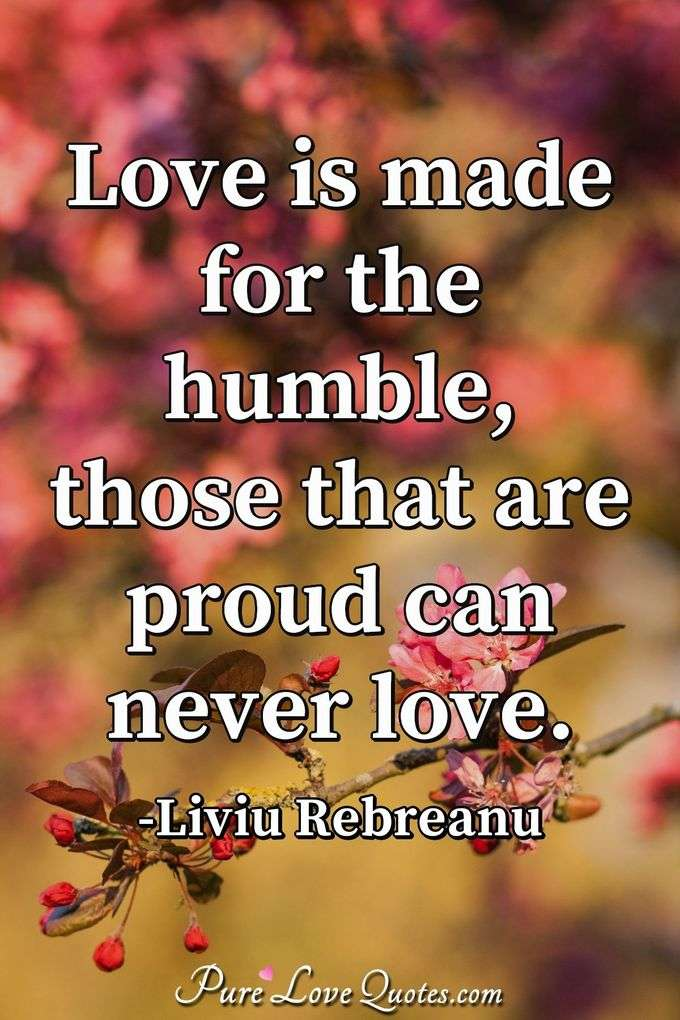 Love is made for the humble, those that are proud can never love. - Liviu Rebreanu