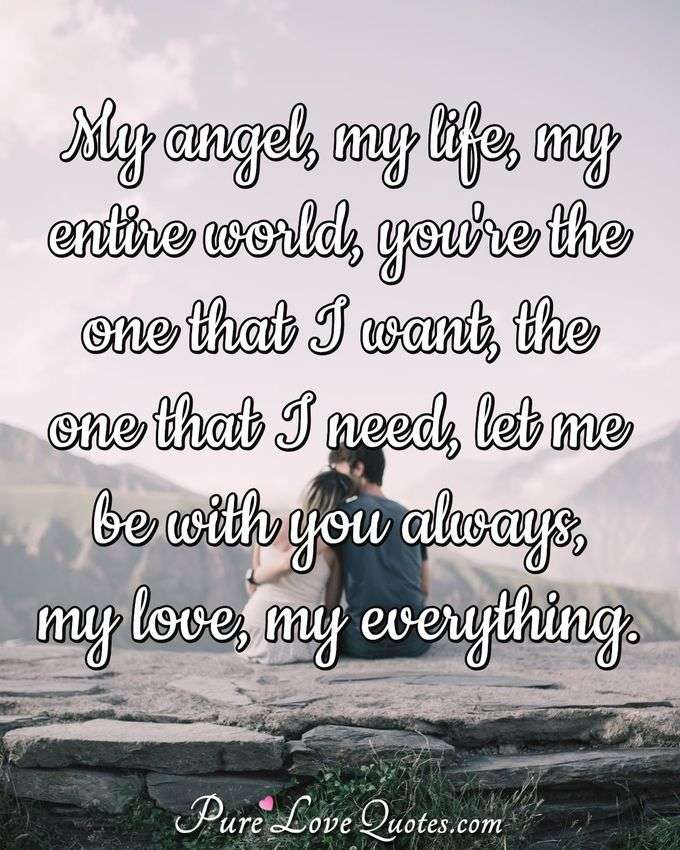 My angel, my life, my entire world, you're the one that I want, the one that I need, let me be with you always, my love, my everything. - Anonymous