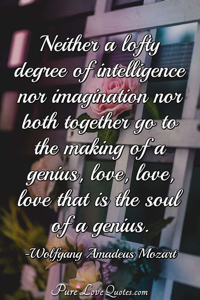 Neither a lofty degree of intelligence nor imagination nor both together go to the making of a genius, love, love, love that is the soul of a genius. - Wolfgang Amadeus Mozart