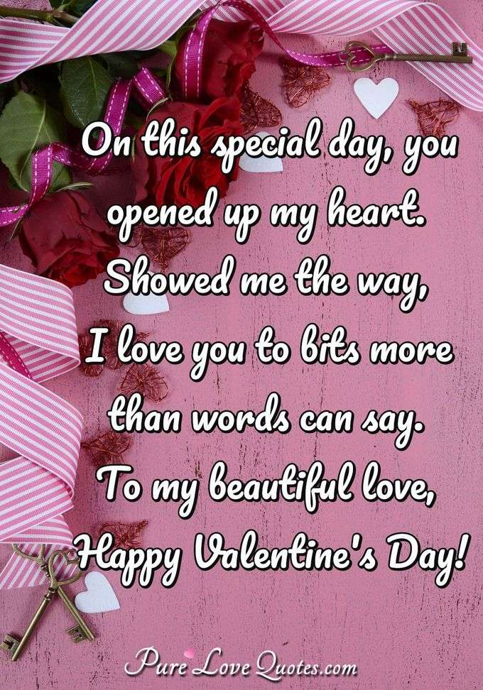 On this special day, you opened up my heart. Showed me the way, I love you to bits more than words can say. To my beautiful love, Happy Valentine's Day! - Anonymous