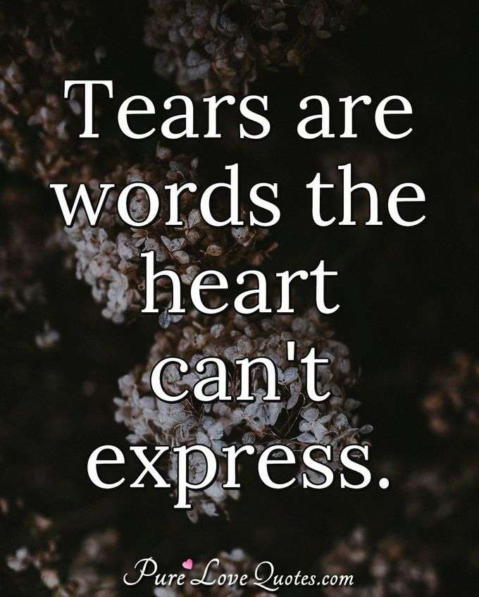 Tears are words the heart can't express. - Anonymous
