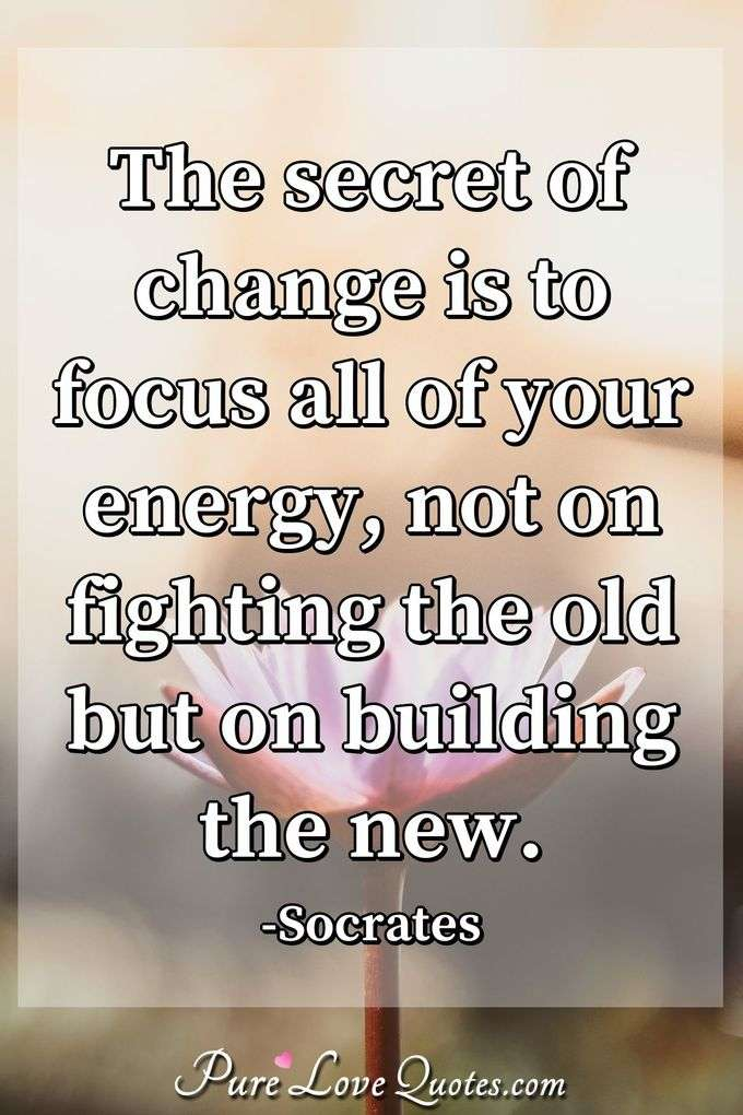 The secret of change is to focus all of your energy, not on fighting the old but on building the new. - Socrates