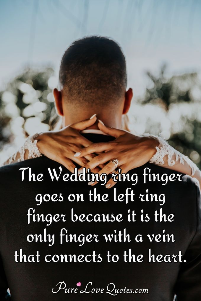 The wedding ring finger goes on the left ring finger because it is the only finger with a vein that connects to the heart. - Anonymous