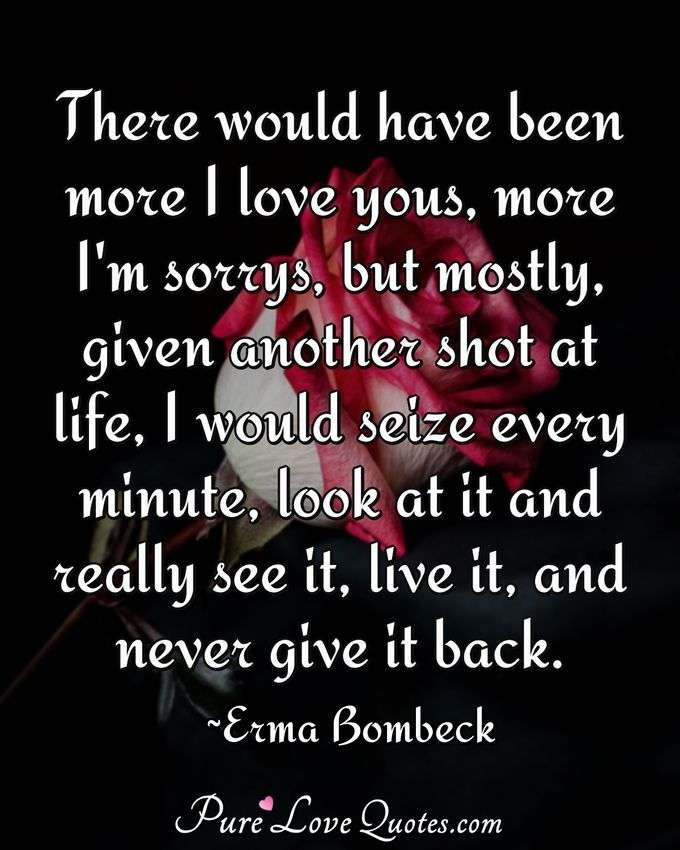 There would have been more I love yous, more I'm sorrys, but mostly, given another shot at life, I would seize every minute, look at it and really see it, live it, and never give it back. - Erma Bombeck