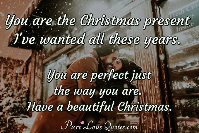 You are the Christmas present I've wanted all these years. You are perfect just the way you are. Have a beautiful Christmas. - Anonymous