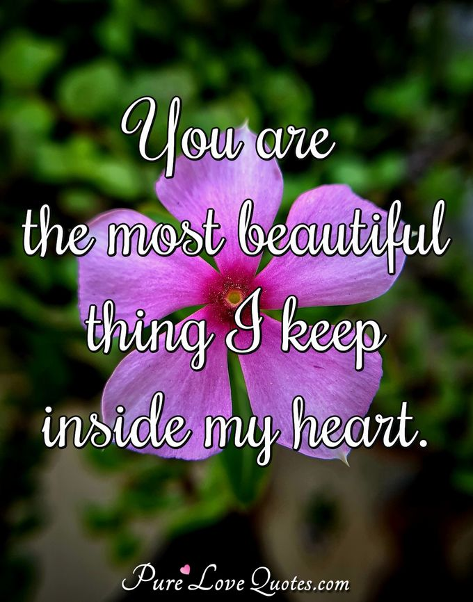 You are the most beautiful thing I keep inside my heart. - Anonymous