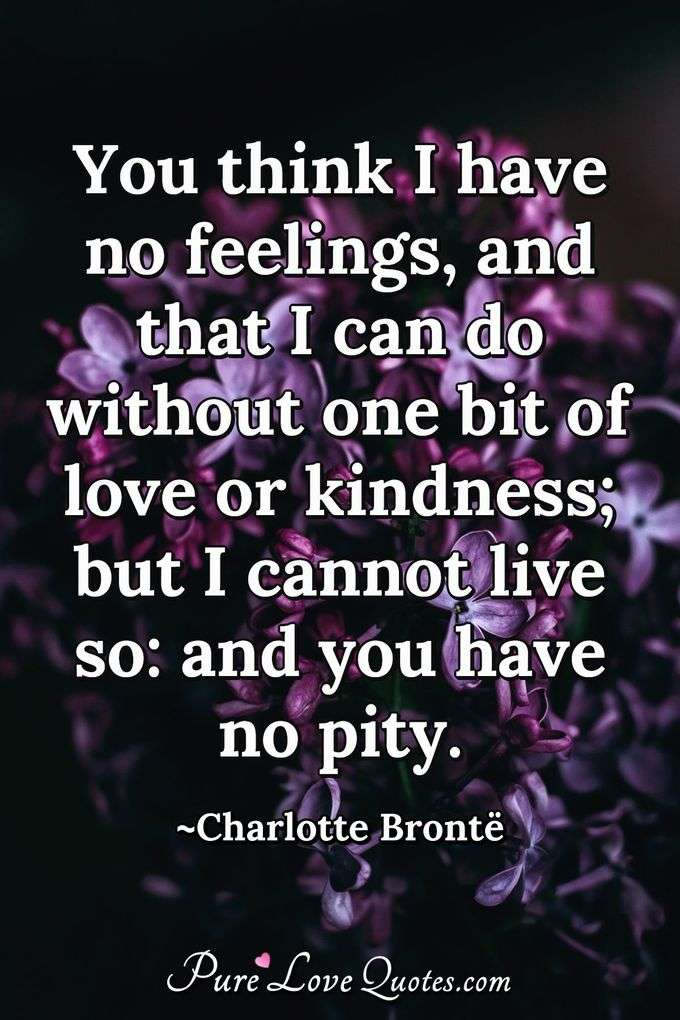 You think I have no feelings, and that I can do without one bit of love or kindness; but I cannot live so: and you have no pity. - Charlotte Brontë